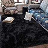 Fluffy Soft Kids Room Rug Baby Nursery Decor, Anti-Skid Large Fuzzy Shag Fur Area Rugs, Modern Indoor Home Living Room Floor Carpet for Children Boys Girls Bedroom Rugs, Black 3 x 5 Feet