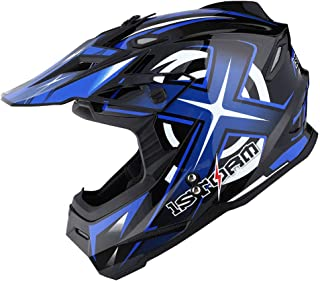 1Storm Adult Motocross Helmet BMX MX ATV Dirt Bike Helmet Racing Style HF801; Sonic Blue..