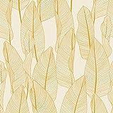 Papier peint feuille de bananier 364975 | Papier peint jaune moutarde & blanc | Papier peint entrée & salon | Papier peint tendance en ligne