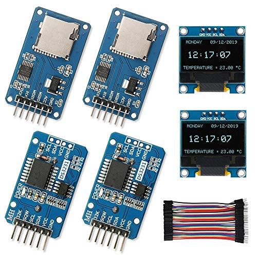 WayinTop Orologio in Tempo Reale Kit per Arduino, 2x DS3231 AT24C32 IIC RTC Modulo Real Time Clock + 2x Modulo Micro SD Card + 2x 0,96'IIC Schermo OLED LCD Display 128X64 Modulo + 10CM Jumper Cavo