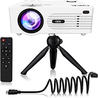 "QKK Upgrade 5500Lumens Mini Projector [Tripod Included] for Outdoor Movies 200"".."
