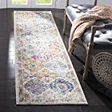 Safavieh Madison Collection MAD611B Bohemian Chic Vintage Distressed Runner, 2' 3' x 8', Cream/Multi
