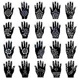 Henna Tattoo Stencil Kit/Temporary Tattoo Template Set of 20 Sheets, Indian Arabian Tattoo Stickers Mehndi Stencils Body Art Designs for Hands