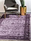 Unique Loom La Jolla Collection Tone-on-Tone Traditional Purple Area Rug (5' 0 x 8' 0)