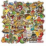 TTBH Pegatinas de Comida de Estilo Mexicano, Vinilo con Dibujos Animados Bonitos, Guitarra, Pizza, Rollo de Pollo, Pegatina para DIY, portátil, Moto, Equipaje, Nevera, 50 Uds.