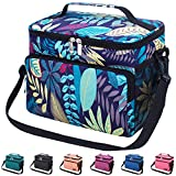 Leakproof Reusable Insulated Cooler Lunch Bag - Office Work Picnic Hiking Beach Lunch Box Organizer with Adjustable Shoulder Strap for Women,Men-Dark Purple Leaf