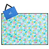 Aoosborts Flamingos Picnic Blanket Water Resistant, Beach Blanket Sand Proof, Wind Proof with Stakes,Machine Washable Outdoor Blanket Mat