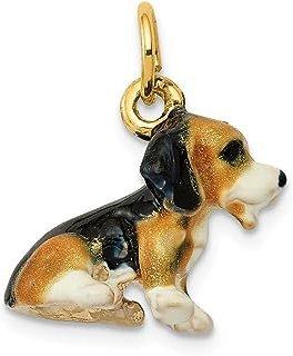 Colgante de oro amarillo de 14 quilates esmaltado, diseño de pequeño beagle