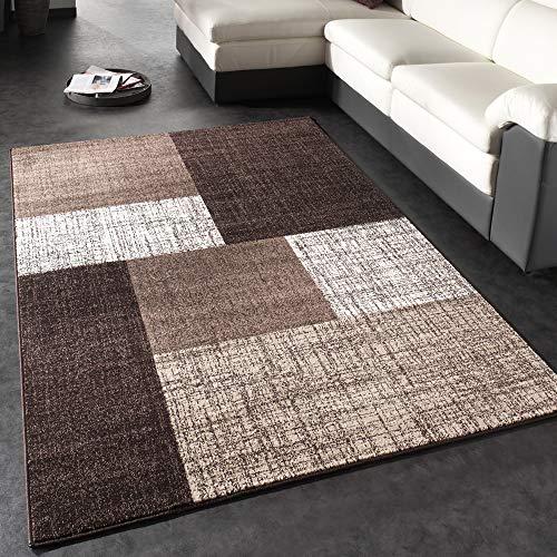 Tappeto di Design Moderno A Quadri Tappeto A Pelo Corto Marrone Crema, Dimensione:80x150 cm