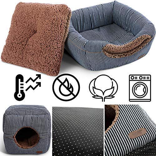 Smiling Paws Cat House & Cat Condo for Indoor Cats - Quality Washable Small Pet Bed That can be configured as a Cat Cave or a popup Cat Tent - A 2in1 Covered Cat Bed Cave & Cat Cube for Indoor Cats