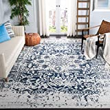 Safavieh Madison Collection MAD603D Vintage Snowflake Medallion Distressed Area Rug, 4' Square, Cream/Navy