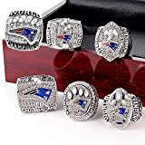 crystal 1st store New England Patriots 6 Years Rings Set, Super Bowl 2019-2001 Championship Replica Rings Size 8-14 (Size 14, Without Box)