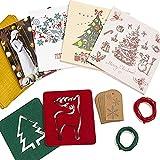 SALE! Caja de Tarjetas de Navidad - 20 Tarjetas con 20 Sobres Rojos y 10 Dorados - 20 Etiquetas de Regalo con 3 Metros de Cuerda de Yute - 2 Posavasos de Diseos Navideos de Fieltro de Polister