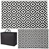 SAND MINE Reversible Mats, Plastic Straw Rug, Modern Area Rug, Large Floor Mat and Rug for Outdoors, RV, Patio, Backyard, Deck, Picnic, Beach, Trailer, Camping (5' x 8', Black & White Lattice)