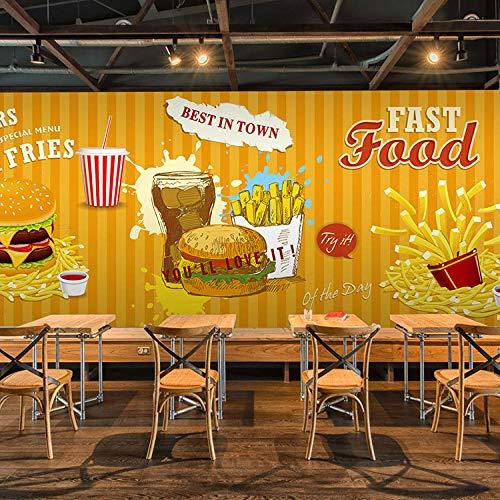 BHGJP - Adesivo da parete 3D, per camera da letto, divano, letto, hamburger, patatine, ristoranti,...