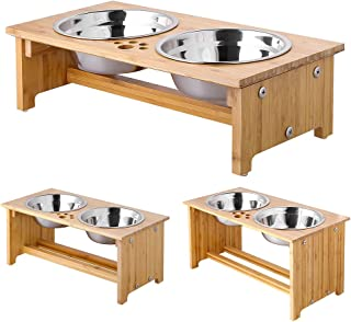 FOREYY Raised Pet Bowls for Cats and Dogs, Bamboo Elevated Dog Cat Food and Water Bowls..
