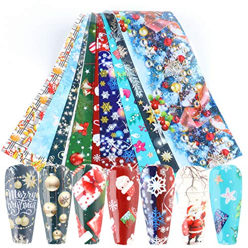 Christmas Nail Foil Transfer Stickers, Xmas Nail Art 10 Sheets Holiday Nail Decals Cute Winter DIY Manicure Design-Snow Bells Ribbon Snowmen Santa Tree Elk for Party Favor Decor Women Kids Arts