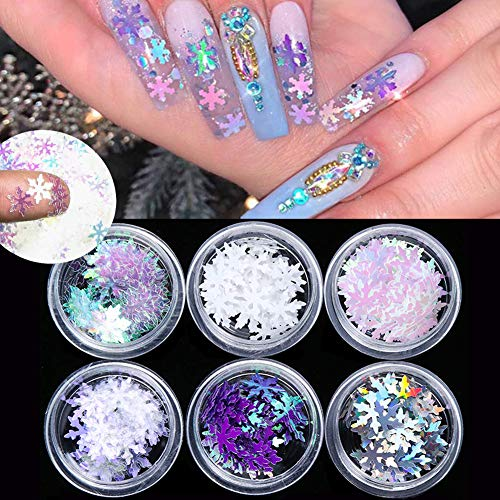 Christmas Nail Art Sequins Snowflake Glitter Nail Decals Holographic Laser 3D Snowflakes Nail Art Stickers Acrylic Nails Flakes Glitters Designs Nail Art Supplies Confetti Glitter Manicure (6 Boxes)