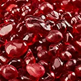 Marlboro Red - Fire Glass Dots for Indoor and Outdoor Fire Pits or Fireplaces | 10 Pounds | 3/8 Inch