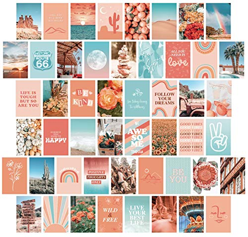 Artivo Peach Teal Aesthetic Wall Collage Kit, 50 Set 4x6 inch,...