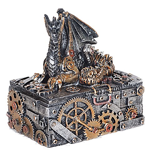 Caja de joyería de color plateado y dorado con diseño de dragón de Steampunk