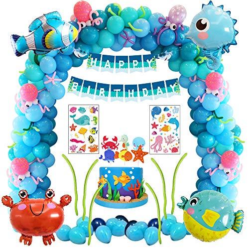 Decoración de fiesta de cumpleaños de mar azul con animale