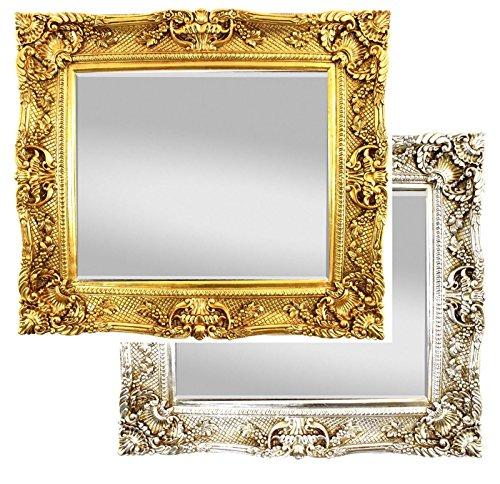 Grosser Antik Wandspiegel Gold 75x85 - Handgefertigt - Barock Spiegel mit Facettenschliff