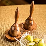 ExclusiveLane Unique Slanting Sheesham Wooden Salt Pepper Set for Dining Table & Salt and Pepper Shakers Set with Tray (40 ML) - Salt and Pepper Mixer Table Top Dinning Table Accessories