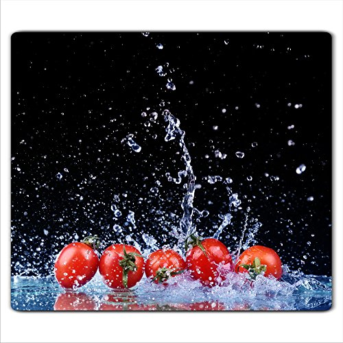 decorwelt | Herdabdeckplatte 60x52 cm Ceranfeldabdeckung 1-Teilig Universal Elektroherd Induktion für Kochplatten Herdschutz Deko Schneidebrett Sicherheitsglas Spritzschutz Glas Tomate