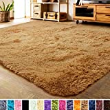LOCHAS Soft Indoor Modern Area Rugs Fluffy Living Room Carpets Suitable for Children Bedroom Decor Nursery Rugs 4 Feet by 5.3 Feet (Khaki)