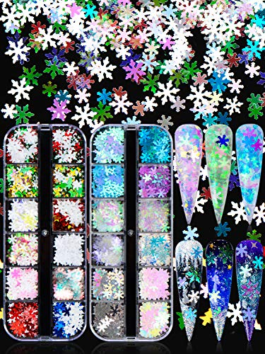 Warmfits Snowflakes Nails Glitter White Blue Ice Nails Sparkle Snow Sequins 24 Colors Holographic Mermaid Nail Flake for Winter Christmas Nail Art (Pattern A)
