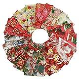 Voqeen 100 Pcs Sachets Pochettes Cadeau En Organza Avec Rubans Pour Bijoux Mixte Couleur Sac De Sucre Sac à Bijoux Impression à Chaud Pour Fête Mariage Bonbon Chocolat Noël Anniversaire Cadeaux (B)