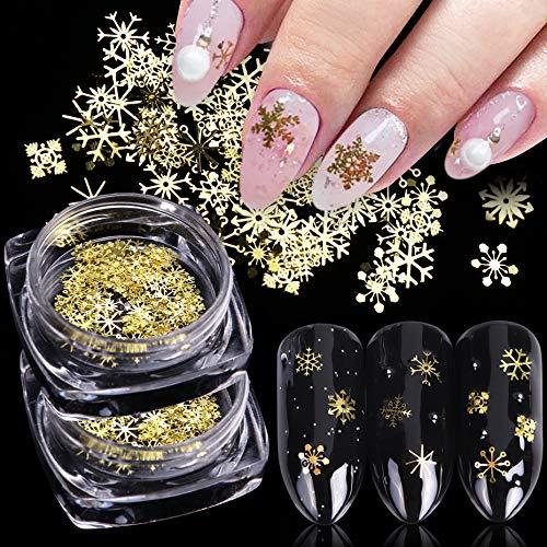 2 Boxes 3D Snowflake Nail Art Sequins Gold Snowflakes Glitter for Nails Decoration Christmas Nail Art Stickers Decals Snowflake Nail Glitter Flakes for Acrylic Nails Design DIY Metal Xmas Nail Decor