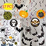 Spooktacular Creations 57 Pieces Halloween Party Swirl Ceiling Hanging and Wall Witches Bats Spider Skull Swirl Hanging Cards Decorations Indoor