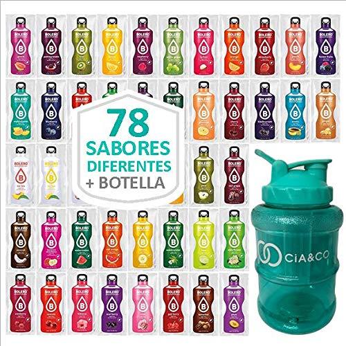 Pack 78 Sabores Bebidas Bolero Sin Azucar + Botella Limitada Cia&Co 1,5 Litros   Todos Los Sabores Diferentes   Todas las variantes   Incluye Botella de 1,5 Litros Especial para diluir cada Sabor