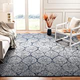 Safavieh Madison Collection MAD604G Geometric Ogee Trellis Distressed Area Rug, 4' Square, Navy/Silver