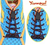 Yankz! SureLace No Tie Elastic Shoelace System with 2 Lock Adjustment - Locking Lace Replacement for Kids, Adults, and Senior Walking and Running Shoes (Brown Laces - Black Locks)
