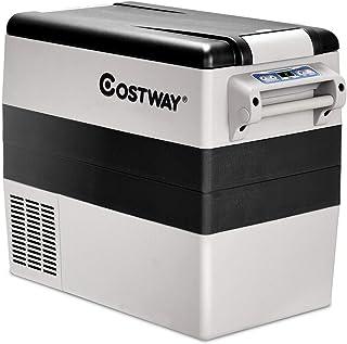 COSTWAY Car Refrigerator, 55-Quart Portable Compressor Freezer, -4°F to 50°F, Dual-Zone..