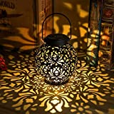 2 Pack Outdoor Solar Hanging Lantern Lights Metal LED Decorative Light for Garden Patio Courtyard Lawn and Tabletop with Hollowed-Out Design. 2 Color Options Black and Bronze.