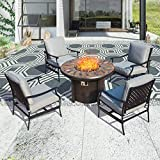 PatioFestival Outdoor Patio Conversation Set CSA Certification 50,000 BTU Gas Fire Pit Sets Round Firepit Table Metal Sofa Chair with 5.1' Thick Seat Cushion (5 PCS,Grey)