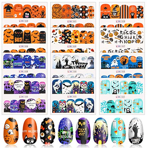 24 Sheets Halloween Nail Art Stickers - Halloween Acrylic Art Nail Decorations Water Transfer Nail Wraps Decals and Nail Files for Women Girls