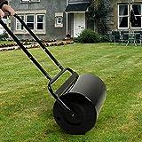 aHUMANs Heavy Duty Garden Roller,38L Garden Roller Metal Garden Hand Grass Lawn Aerator Push/Tow Poly Lawn Roller