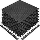 Sivan Health and Fitness® Puzzle Exercise Mat High Quality EVA Foam Interlocking Tiles—Protective Flooring for Gym, Garage Flooring, Playroom, Workshop, Basement, and more (Black)