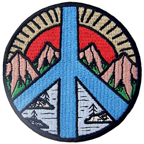 Toppa ricamata da applicare con ferro da stiro o cucitura, tema: Segno di pace Montagna e fiume