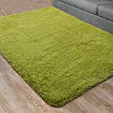 DETUM Soft Bedroom Area Rugs, Fluffy Fur Rug for Living Room Kids Room Nursery Room Mat, Shaggy Plush Carpet for Indoor Floor, Modern Home Decor, 3 x 5 Feet, Green