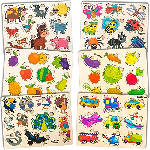 Toddler Puzzles for Kids Ages 2-4 by Quokka - 6 Wooden...