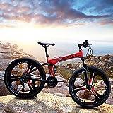 feolkeng 24in Folding Mountain Bike Shimanos 21 Speed Bicycle Full Suspension MTB Bikes,Outdoor Bikes for Men Women