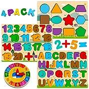 Montessori Spielzeug ab 1 2 3 4 Jahre, Holzpuzzle Kleinkind, Buchstaben Zahlen Form Puzzle, ABC Nummer Lernen, Alphabet Spiel Montesori Holz Lernspielzeug Kinder, Geschenk für Jungen Mädchen 1-5 Jahre