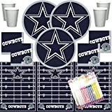 Dallas Cowboys NFL Football Team Logo Plates Napkins Cups and Table Cover Serves 16 with Birthday Candles (Bundle for 16)
