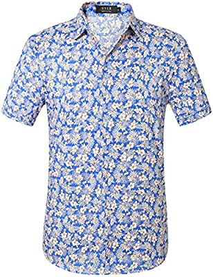Machine wash cold, tumble dry low. Do not bleach Regular fit, perfect tailored silhouette. Lightweight cotton of soft and comfortable Hawaiian shirt with spread collar, short sleeves and curved hem, front logo button closure All over floral prints of...